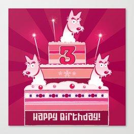 Birthday cake scotties - 3 years! Canvas Print