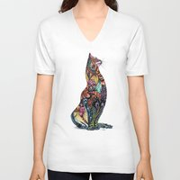tatoo V-neck T-shirts featuring Tatoo cat by Annie Liu
