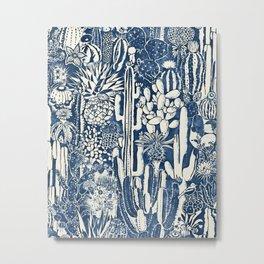 Indigo cacti Metal Print