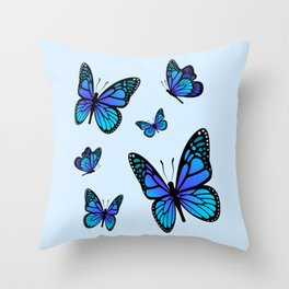 Butterfly Blues | Blue Morpho Butterflies Collage Throw Pillow