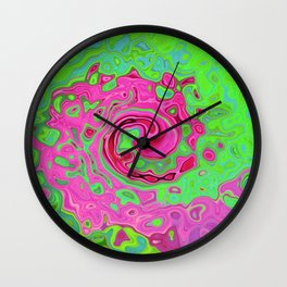 Groovy Abstract Green and Red Lava Liquid Swirl Wall Clock