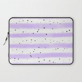 Modern pastel lavender black splatters stripes motif Laptop Sleeve