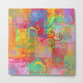 Grunge Swirls, Flowers and textures Metal Print