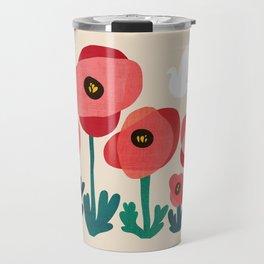 Poppy flowers and bird Travel Mug