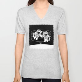 Astronaut black and white Gemini Unisex V-Neck