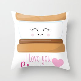 Kids Valentine I Love You Smore Throw Pillow