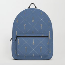 Elegant Gold Fork Trident Pattern Backpack