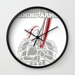 Knight in shimmering armor protection courage gift Wall Clock