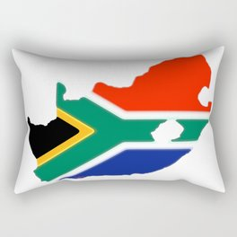 South Africa Map with South African Flag Rectangular Pillow