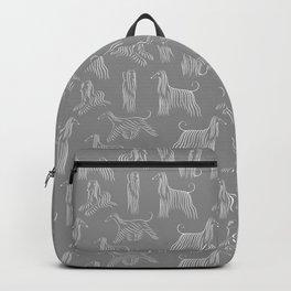 Afghan Hounds on Grey Background Backpack