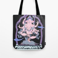 kozyndan Tote Bags featuring Long Lines Block the Path to Enlightenment by kozyndan