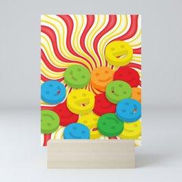 Psychedelic Smiley Emoji and Candy Swirls Mini Art Print