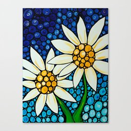 Bathing Beauties - Two best friends...white daisies...by Sharon Cummings.  Labor of Love series. Canvas Print