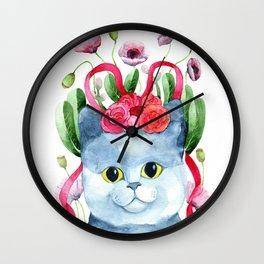Frida Kahlo Inspired Cat Wall Clock