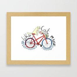 bike,cat, meow Framed Art Print