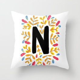 Letter 'N' Initial/Monogram With Bright Leafy Border Throw Pillow