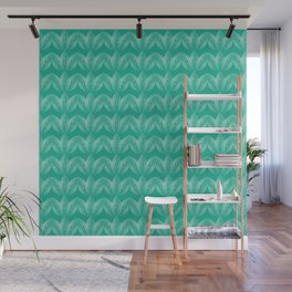 Abstract floral art deco pattern turquoise Wall Mural