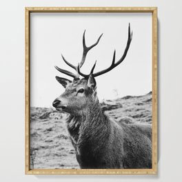 The Stag on the hill - b/w Serving Tray