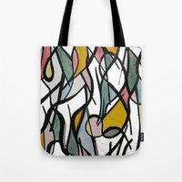 kandinsky Tote Bags featuring Geometric Abstract Watercolor Ink by Ashley Grebe