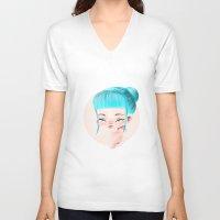 aqua V-neck T-shirts featuring Aqua by maespinozaf