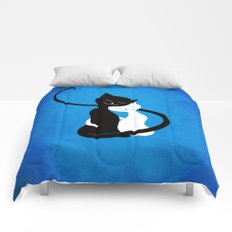 White And Black Cats In Love Comforters