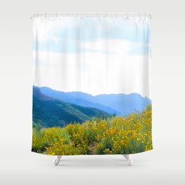 yellow poppy flower field with green leaf and blue cloudy sky in summer Shower Curtain