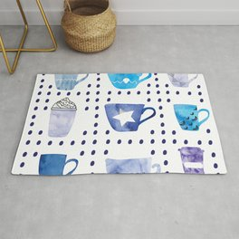 Watercolor hand drawn blue colored coffee cups pattern Rug
