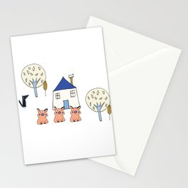 Tree Little Pigs Pearl Stationery Cards