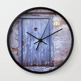 Old Blue Door Wall Clock