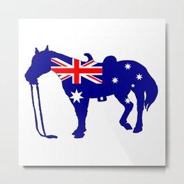 Australian Flag - Horse Metal Print