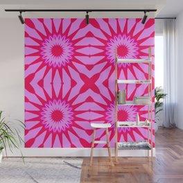 Fuchsia Pink Flowers Mandala Wall Mural