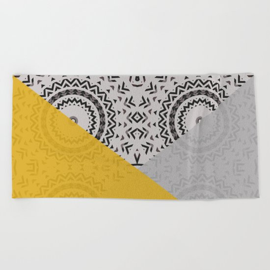 Yellow and Grey Triangles Beach Towel