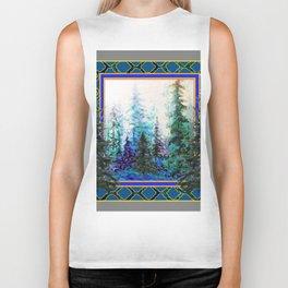 PINE TREES BLUE FOREST  LANDSCAPE TEAL PATTERN Biker Tank