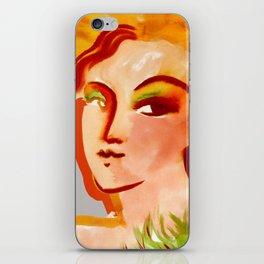 Deep orange yellow hues fashion portrait iPhone Skin