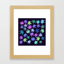Blue Hempy Leaves Framed Art Print