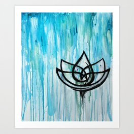 Lotus in the Rain I Art Print