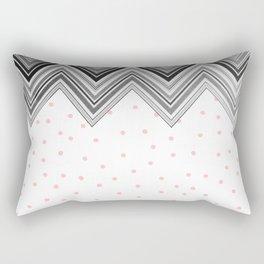 Geometrical black blush pink polka dots chevron Rectangular Pillow