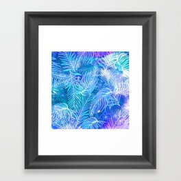 Blue frost seamless pattern. Palm leaves. Hand painted. Framed Art Print