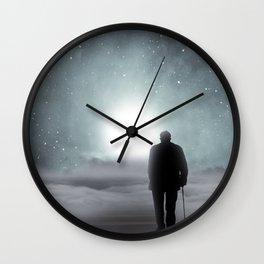 Old Man Walking Towards Heaven Wall Clock