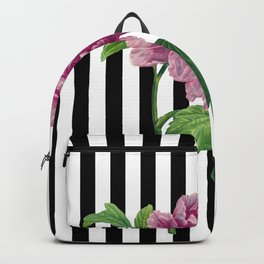 Pink Peony Black Stripes Chic Backpack