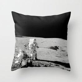 Apollo 14 - Black & White Moon Work Throw Pillow
