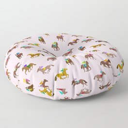 Off to the Horse Races (Pink) Floor Pillow