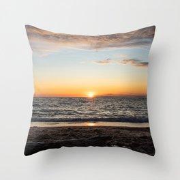 Sunset in Lake Michigan Throw Pillow