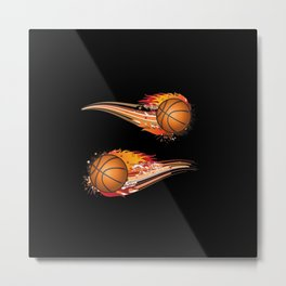Basketball Fire Metal Print