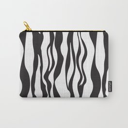 Black and white wavy stripes Carry-All Pouch