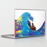 hokusai Laptop & iPad Skins featuring Hokusai Rainbow & Moai by FACTORIE