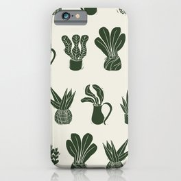 Green on Ivory houseplant linocut pattern  iPhone Case