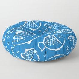 Fish blue white Floor Pillow