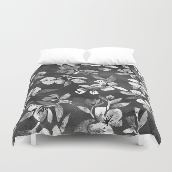 Blossoms on Charcoal Ink Duvet Cover
