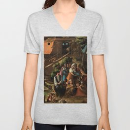 1520 Classical Masterpiece 'Entering into the Ark' by Dosso Dossi Unisex V-Neck